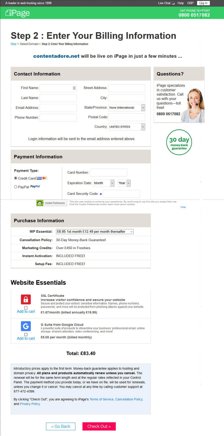 iPage registration