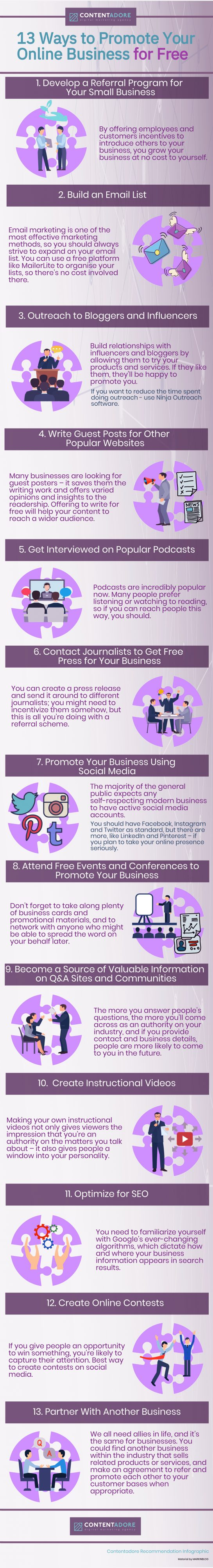 13 ways to promote business for free