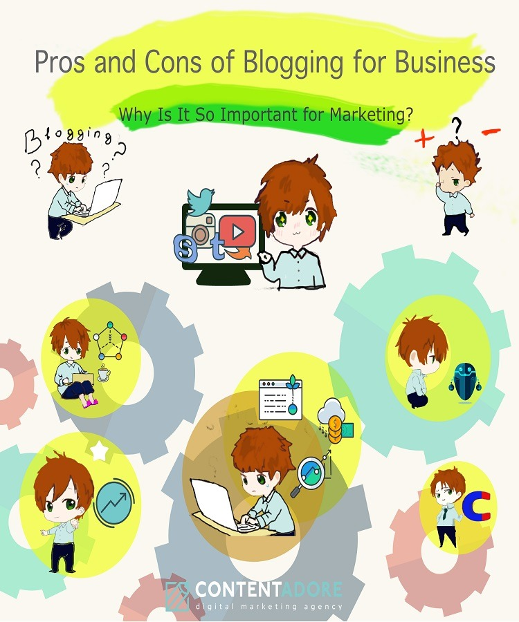 Pros and Cons of Blogging for Business promo for infographic