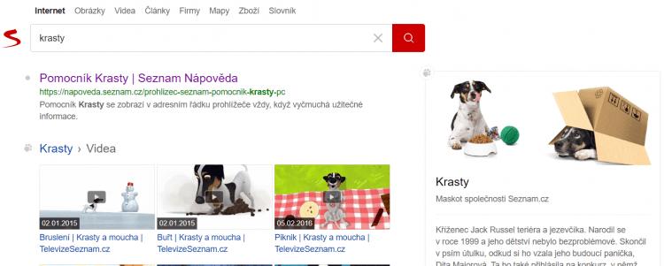Пес Красти — маскот поисковика Seznam